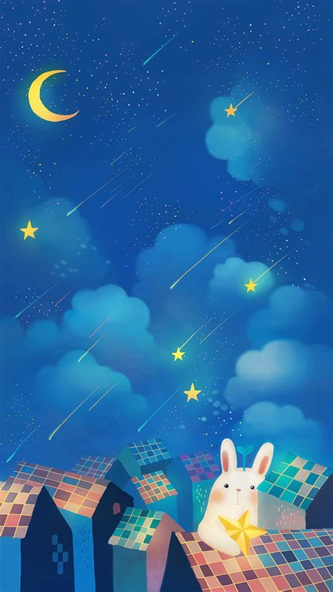 Romantic Night Moon Star Clouds Sky Rabbit House Top