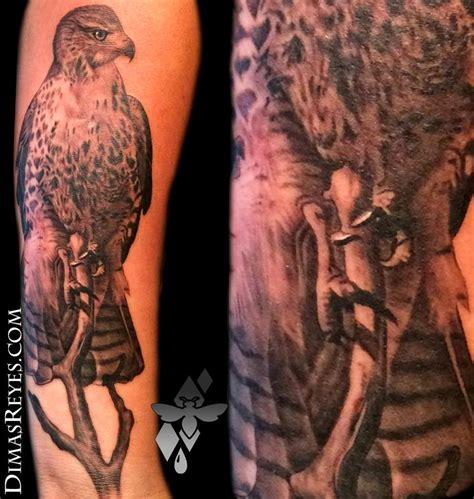 black and grey hawk tattoo realistic red tailed hawk tattoo by dimas reyes tattoonow