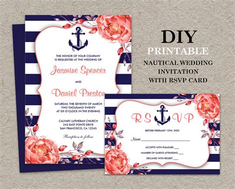 wedding invitations nautical nautical wedding invitation with rsvp card diy printable