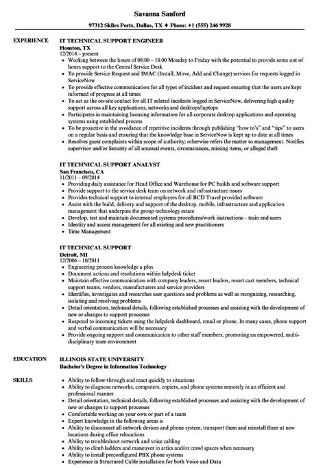 Technical Support Resume by It Technical Support Resume Sles Velvet