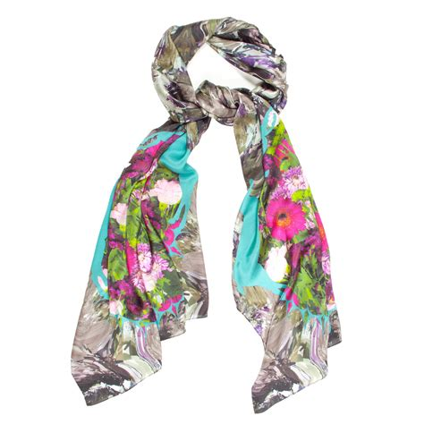 colourful silk floral scarf collicott