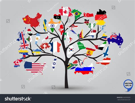 flags of the world design map flags world tree design vector stock vector 260595050