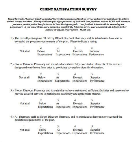 7 Client Satisfaction Survey Sles Sle Templates Client Satisfaction Survey Template
