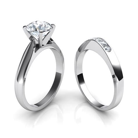Tapered Cathedral Solitaire Engagement Ring & Wedding Band