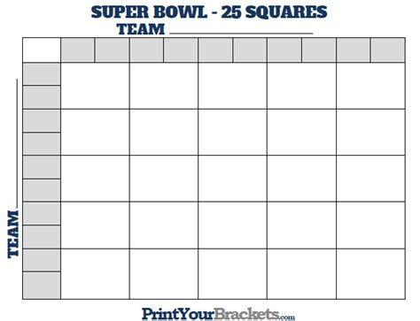 search results for printable 100 square box superbowl