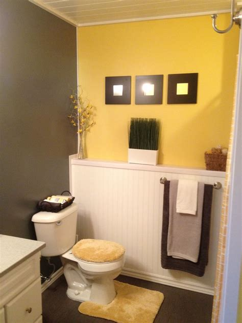 bathroom with yellow walls grey and yellow bathroom ideas half bath pinterest