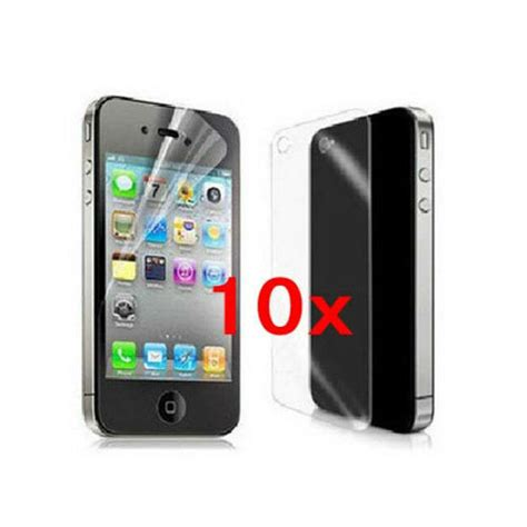 10x high front and back clear screen protector cover for apple iphone 4 4s 4g ebay