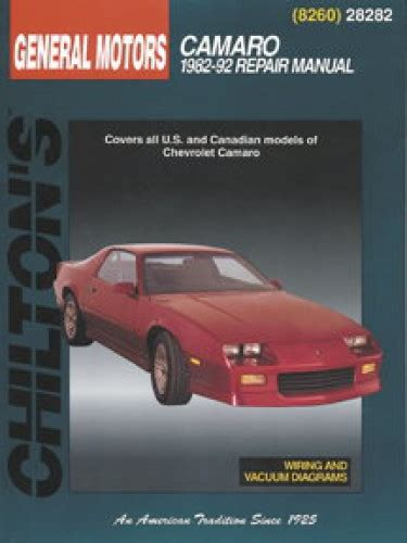 old car repair manuals 1992 chevrolet camaro on board diagnostic system chilton chevrolet camaro 1982 1992 repair manual