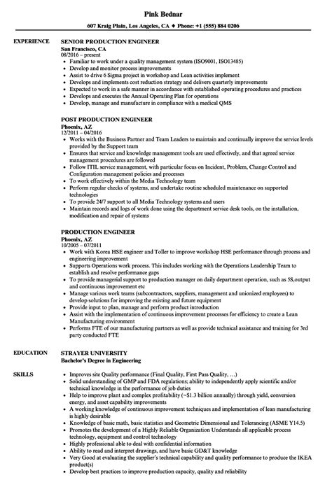 resume format for production engineers production engineer resume sles velvet