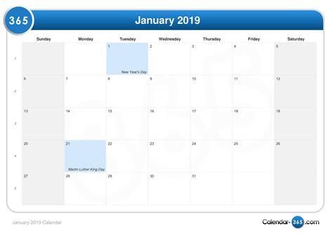 Calendar 2019 January January 2019 Calendar