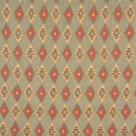 Southwestern Upholstery Fabrics by Green Beige And Coral Vintage Look Cabin Southwestern