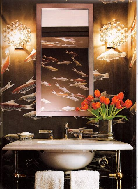 fish wallpaper for bathroom 147 best images about bath and powder room on pinterest