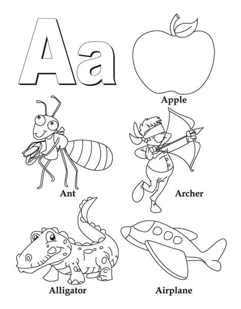 my a to z coloring book letter a coloring page download