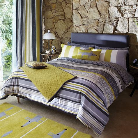 Grey And Yellow Duvet Covers Lace Stripe Bed Linen Luxury Grey Striped Bedding By