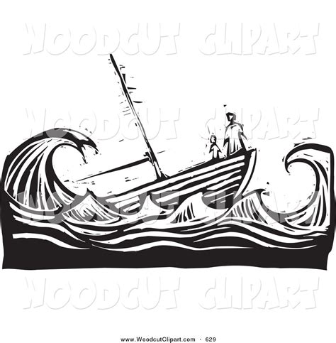 cartoon boat in storm ship in water clipart clipground