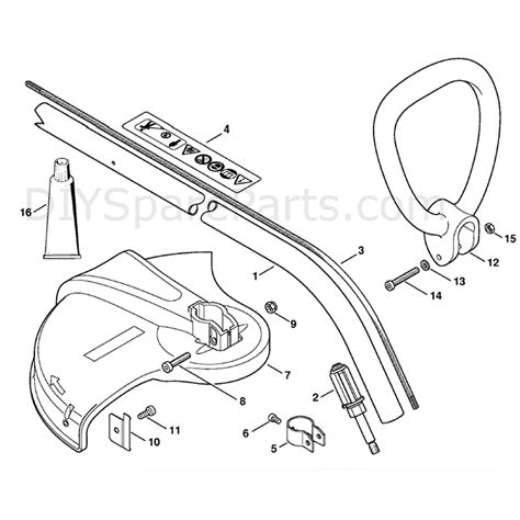 stihl fse  electric trimmer fse  parts diagram drive tube assembly