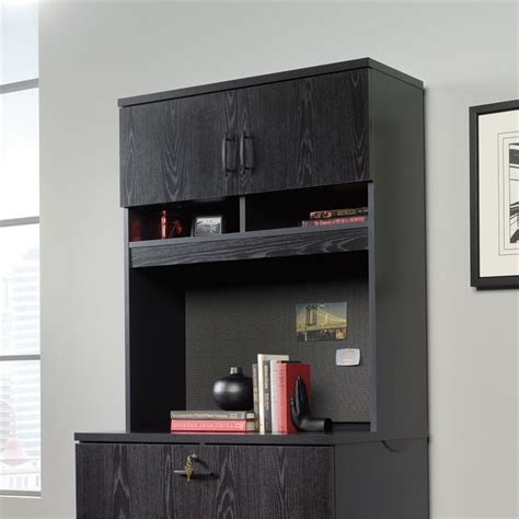 lateral file cabinet with hutch in bourbon oak 419605