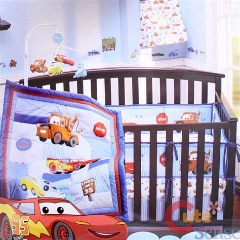 cars crib bedding cars mcqueen with mater baby 4pc crib bedding set ebay