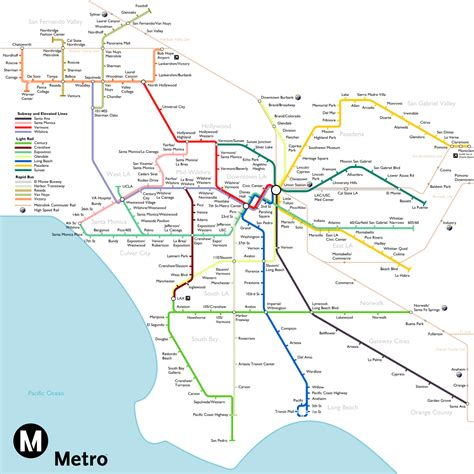 La Metro Map by The Most Optimistic Possible La Metro Rail Map Of 2040