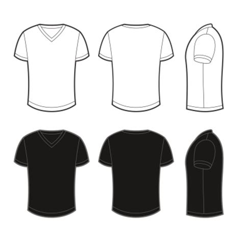 Kaos Casual Graphic 29 front back and side views of blank tshirt vector