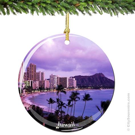 hawaii christmas ornament in porcelain with by citysouvenirs