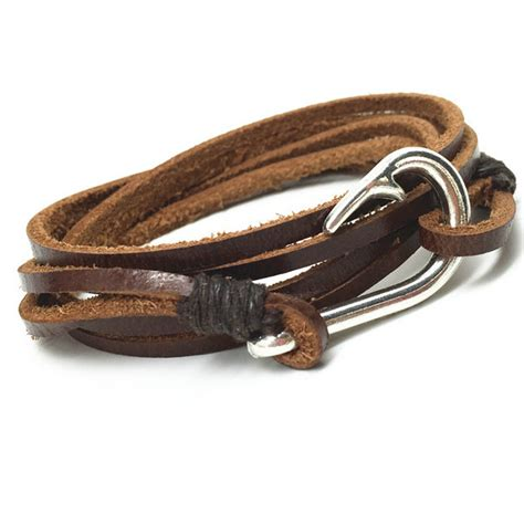 Handmade Mens Leather Bracelets - 2016 handmade new vintage fish hook charm genuine