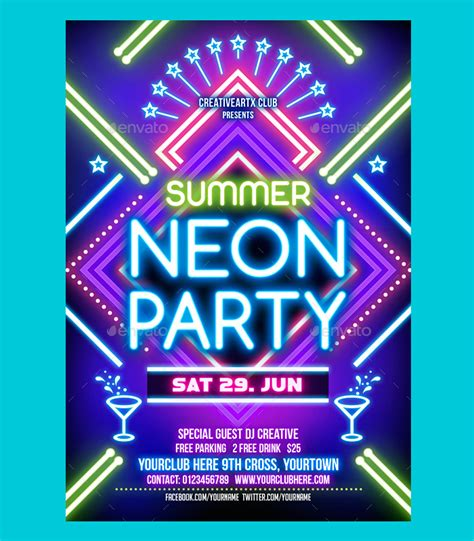 template flyer neon party 31 best neon party flyer psd templates free premium