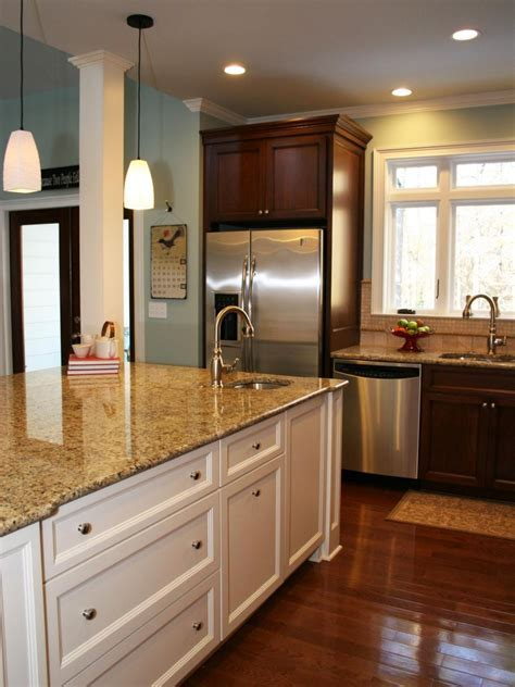 Brown Kitchen Cabinets With White Island   Kitchen Cabinet