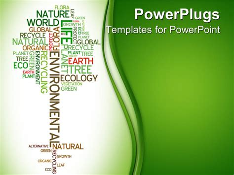 free ecology ppt themes powerpoint template tree made of words related to ecology
