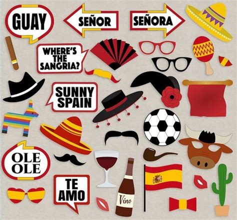 party ideas spanish fiesta on pinterest parties 35 spanish photo booth props spain themed party props