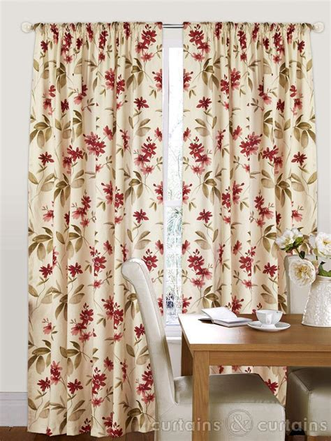 Red Cream Floral Pencil Pleat Curtain Curtains Uk