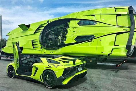 lamborghini aventador sv roadster driving this green lamborghini aventador comes with a matching speedboat mikeshouts