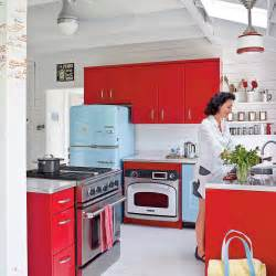 Retro white and blue kitchen using color in the kitchen coastal