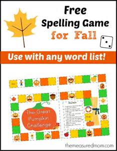 free spelling game for fall use with any word list