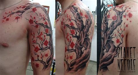 cherry blossom arm tattoo cherry blossom flowers tree on bicep and chest