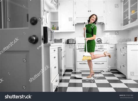 Dancing Fun Lifestyle Kitchen Woman Laughing Stock Photo Stilettos In The Kitchen
