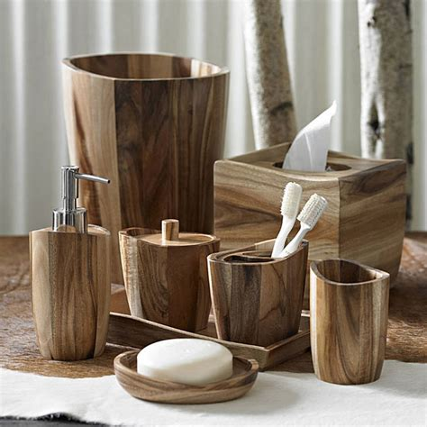 wooden bathroom accessory sets kassatex acacia wood bath accessories gracious style