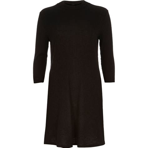 river island black swing dress river island black ribbed turtle neck swing dress in black