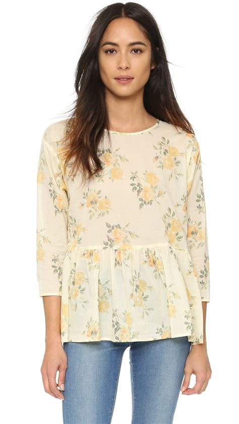 14621 2 Blouse Yelow Flower the great the wanderer top in yellow lyst