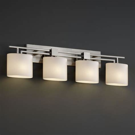 bathroom mirror lighting fixtures justice design fsn 8704 30 opal nckl aero 4 light bath bar