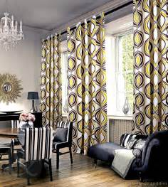 Cheap Kitchen Curtains Window Treatments Geometric Yellow And Gray Curtain For Large Living Room
