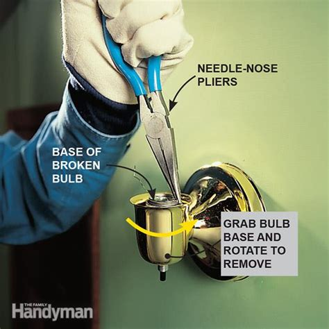 how to remove broken light bulb from socket how to remove a broken light bulb the family handyman