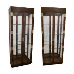 Henredon Curio Cabinet For Sale Henredon Campaign Lighted Curio Display Cabinets Chairish