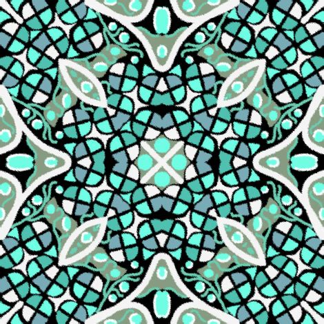 kaleidoscope turquoise teal white fabric eclectic_house