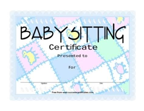 templates for certificates for babysitting babysitting award certificate certificate templates