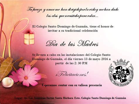tarjeta de invitacion para el dia de los jardines santo domingo de guzman invitaci 211 n d 205 a de las madres