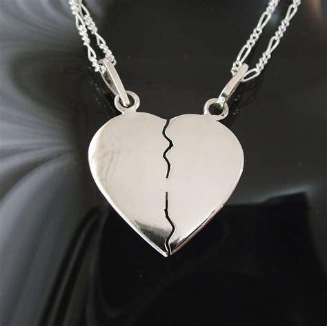 cadenas de plata corazones partidos corazon partido mediano en plata ley 0 925 con dos cadenas