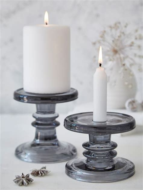 Grey Candlestick Holders Smoke Grey Glass Candle Holders