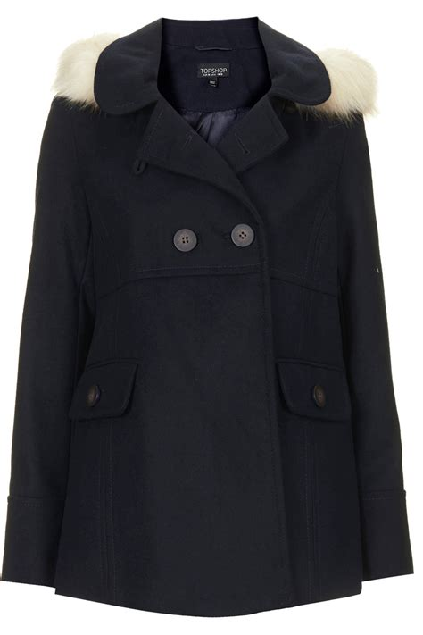 hooded swing coat topshop fur hooded swing coat in blue lyst