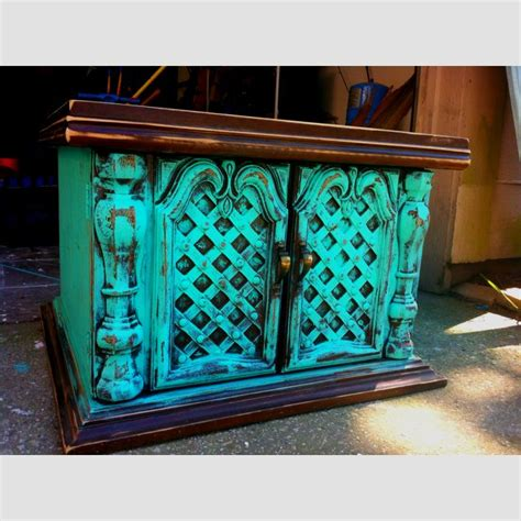 antique distressed turquoise wood end table shabby chic